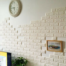 3D White Elastic Foam Brick Wall Stickers Self-adhesive Decal Waterproof Art DIY