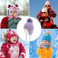 Kids Winter Beanie Hat Mittens Set Baby Toddler Boys Girls Knitted Hat & Gloves