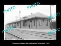 OLD LARGE HISTORIC PHOTO OF COLLINSVILLE ALABAMA, RAILROAD DEPOT STATION c1920