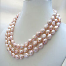 3 strands genuine natural pink baroque freshwater pearl necklace  10-11mm