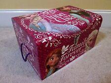 "Disney Frozen Anna Elsa Treasure Chest Storage Box W/Latch & Handles Jumbo 18"""