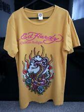 Original Ed Hardy Christian Audigier Mens Snake Diamant T Shirt Medium Authentic
