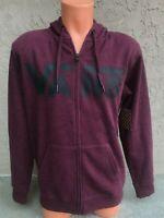Vans Mens Full Zip Hoodie Hooded Maroon Red Sweatshirt Size 2XL XXL