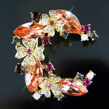 18k Gold GF Diamond simulant with Swarovski crystals brooch pin