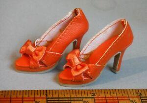"Vintage NOS Orange High Heel Doll Shoes 1 7/8"" Well Made! P70"
