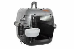 RAC Pet Carrier Top Loading Plastic Portable Transport Cage Black/Silver