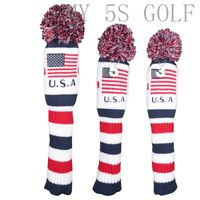 3pcs USA Pom Knit Cover Golf Headcover Driver Fairway 3#5# Wood for Callaway
