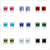 Fashion Rhinestone Crystal Square Woman Ear Stud Earrings Wedding Jewelry Gift