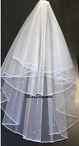 Bridal veil, White  Ivory 2T Wedding Veil, DIAMANTE, PEARL Elbow - Cathedral