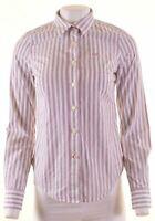 JACK WILLS Womens Shirt UK 10 Small White Striped Cotton  GH04