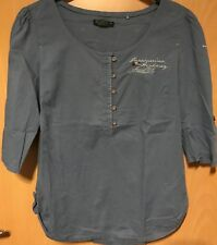 SOCCX Bluse elegante Damenbluse Langarm Blau/Grau Top Gr. 38/M