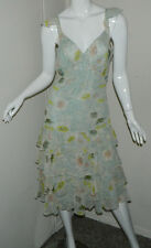 Women Vintage Silk James Coviello For Spiegel Ruffle Floral Sleeveless Dress 6