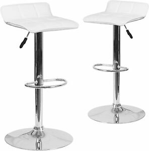 Flash Furniture DS-801B-WH-GG White Vinyl Barstool-SET OF 2