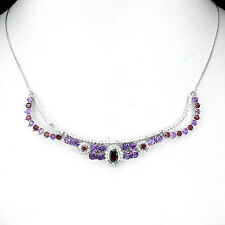 Sterling Silver 925 Genuine Natural Amethyst & Garnet Necklace 18 - 20 Inches