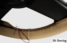 FOR SKODA OCTAVIA 2 BEIGE PERFORATED LEATHER STEERING WHEEL COVER BLACK STITCH