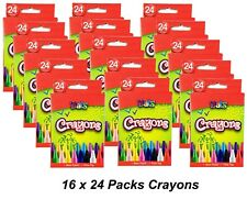 16 x 24 Packs Coloured Wax Crayons for Children Art Drawing Colouring Colour