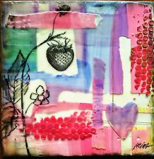 Strawberry, Encaustic Painting, 6x6 Artist