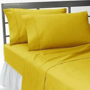Gold Solid Attached Waterbed Sheet 1000 TC 100% Cotton With POLE Attachment