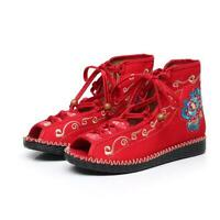 Ethnic Summer Womens Embroidery Floral Open Toe Lace Up Canvas Flats Boots Shoes