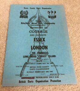 1985 Darts programme Essex v London at The Paddocks Canvey Island, Lazarenko etc