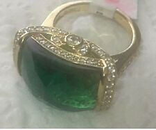 HSN Jean Dousset Vermeil 9.14ct Absolute & Emerald Dome Sterling Ring Sz 8