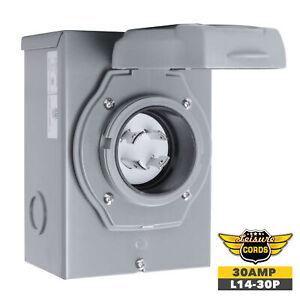 Leisure Cords 30 Amp Generator Power Inlet Box NEMA L14-30P 120 Volt ETL Listed