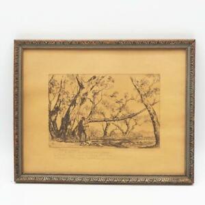 Antique Etching Print Neville C. Davidon Jr. Sycamores Fishing Signed Framed