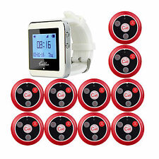 Restaurant Guest Paging Calling System Kit 1 Watch Receiver+10 Call Button Pager