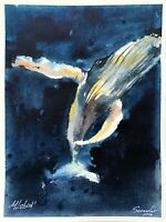 WHALE Painting ORIGINAL ART A5 Drawing samovar watercolor aquarelle sea life