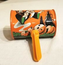 Witch over Jack O' Lantern Patch, Ghosts, Shaker Toy Noise Maker USA. Metal Toy