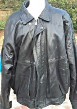 GAPPACCIO MENS BLACK LEATHER BOMBER MOTORCYCLE JACKET Size XL Quilted Lining