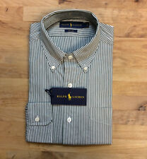 $145 Polo Ralph Lauren Blake Stripe Broadcloth Dress Shirt, Green/White, Size XL