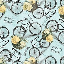 New listing Multi Vintage Garden Bicycle by Jo Moulton By the yard Bikes on Blue