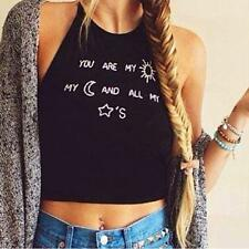 Women Sleeveless Crop Tops Vest Backless Halter Tank Tops Blouse T-Shirt M 1
