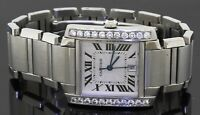 Cartier Tank Francaise 2302 SS 1.10CT diamond automatic men's watch w/ date