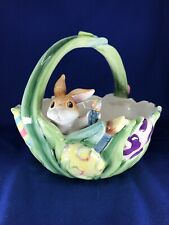"""Fitz and Floyd Essentials Bunny Rabbit """"Painting Easter Eggs"""" Ceramic Basket"""