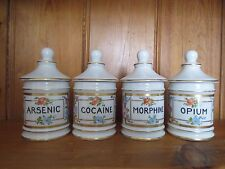 * LIMOGES FRANCE SET OF 4 APOTHECARY JARS * COCAINE, OPIUM, ARSENIC, MORPHINE *