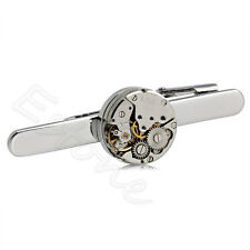New Steampunk Men's Tie Clip Tie Clasp Tack Made From Vintage Watch Movement