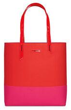 Lancome Red & Pink Color Block Striped Tote Bag Handbag Travel Carry-on shopper.
