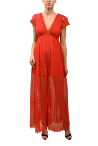 Free People Womens Chleo Mesh Maxi OB767365 Jumpsuit Relaxed Academy Red Size XS