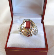 3.85 Ct.  Ruby Solitaire & Diamond  14K White Gold Ring