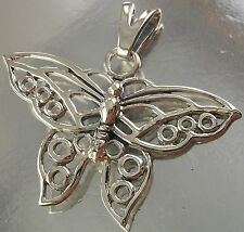 925 STERLING SILVER intricate BUTTERFLY CHARM PENDANT oxidised