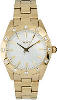 DKNY NY8661 Glitz Gold Toned Steel Women's White Mother of Pearl Dial Watch New