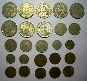 25 Guatemala coin lot 1963-1996 1C to 25 Centavos  No Dupes F to Uncirculated