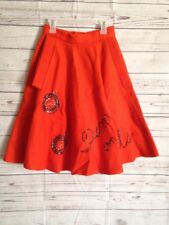 "Vintage 1960's Orange Felt Poodle Skirt w/ Pockets Beads ""Time On My Side"" Clock"