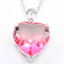 Unique Xmas Gifts Heart Shaped Rainbow Pink Tourmaline Silver Necklace Pendants