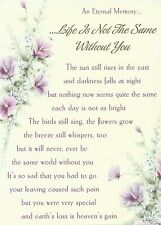 An Eternal Memory ~ Life Is Not the Same Without You ~ Laminated grave card
