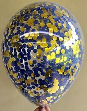 3x Metallic Gold and Navy Blue Clear Confetti Balloons 1st Birthday Wedding Male