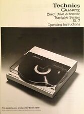 Technics Turntable System SL-7 Operating Instruction - USER MANUAL -  Hifi VINYL