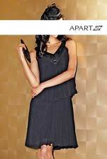 Kleid  Plisse aus Chiffon mit  Perlen  schwarz Gr 40